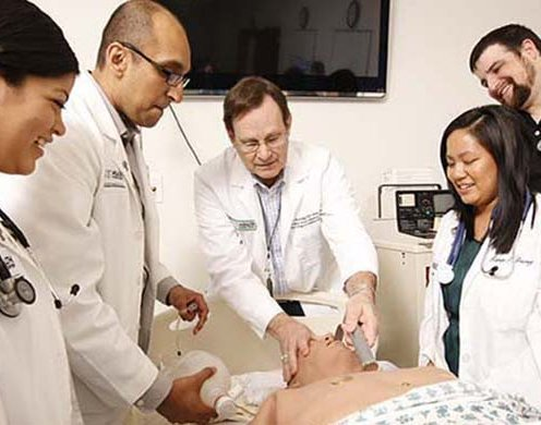 Faculty member shows medical